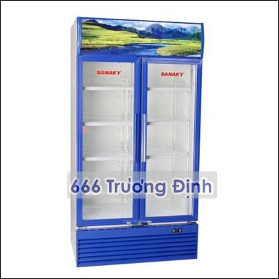 tủ mát 2 cánh mở sanaky 1000 lít viền xanh, bảo hành 12 tháng.