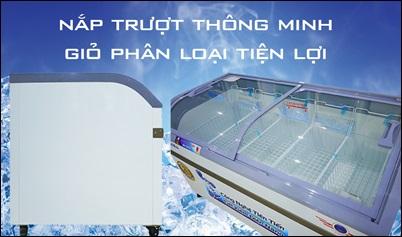 tủ đông kính cong 600 lít alaska mới 100%