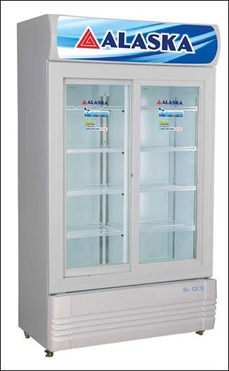 tủ làm mát 2 cửa lùa alaska 1200 lít, mới 98%