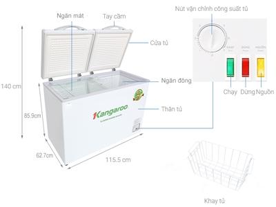 Tủ đông kháng khuẩn Kangaroo inverter Bảo hành chính hãng 20 tháng
