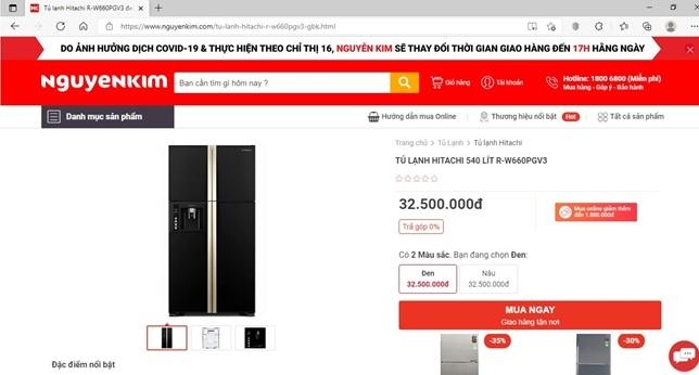 tủ lạnh HITACHI inverter 4 cánh 540 lít Thái Lan như mới