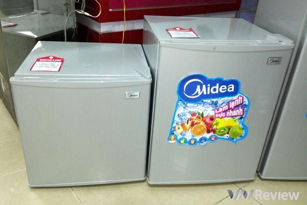 tủ lạnh cũ 50 lít làm được đá sanyo. giá rẻ, mới 80%